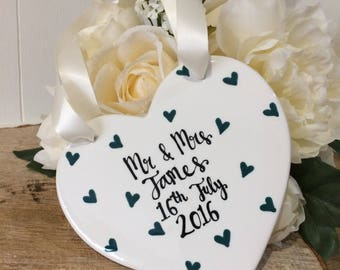 Hand Painted Wedding Gift - Hanging Heart
