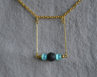 Diffuser Necklace - Lava Stone and Glass Bead - Ready To Ship