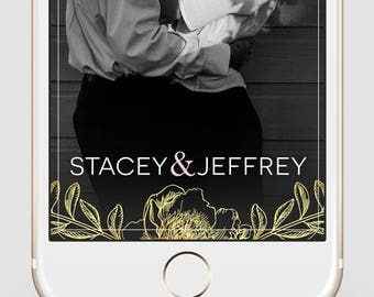 Custom Snapchat Geofilter | Wedding Snapchat Geofilter | Gold Floral | Wedding | Party