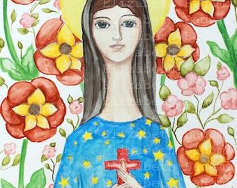 Our Lady of Pontmain - French Mary - Catholic France - Catholic Art - Communion Gift - Confirmation Gift - Art Print - Folk Art Retablo