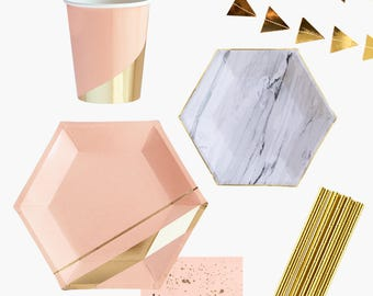 Blush PARTY in a BOX KIT, Party Kit, Bridal Shower Kit, Party Kit, Party in a Box,Party Tableware Kit,Party Box,Baby Shower Kit,Shower decor