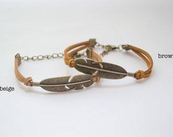 Antique Bronze Feather Seude Bracelet