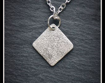 Silver Speckled Square Pendant - Silver Precious Metal Clay (PMC), Handmade, Necklace - ACM065-17)