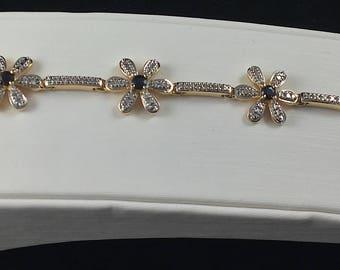Beautiful Vintage China Sterling Diamond and Sapphire Flower Bracelet