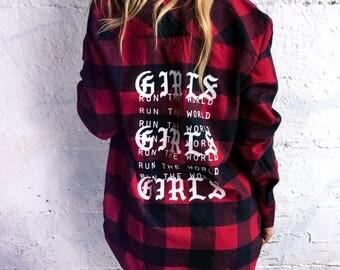 Oversized Flannel Women's Vintage Flannel Girls Run The World Feminist Shirt Girl Power • B5210red