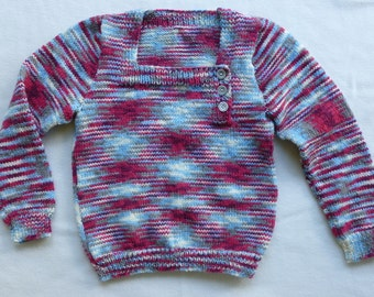 Girls' Hand Knitted Wool Jumper Size 8-10 years (See Measurements Diagram)