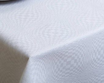 Elaborate Tablecloths - made in Europe - White with checks - Various Cloth Sizes - medium weight - Linen/Cotton