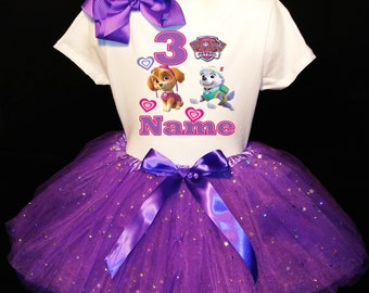 PAW PATROL 3rd third 3 Birthday Dress ***With NAME***  Fast Shipping Purple party Shirt & Tutu outfit