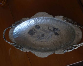 Hand Hammered Wrought Aluminum Tulip Tray
