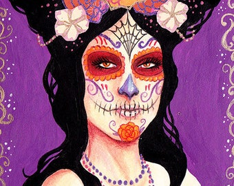 ACEO Print - Day of the Dead, Dia de los Muertos, pretty Catrina, Beautiful Calavera girl in purple with orange flowers