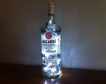 Upcycled Bacardi White Rum LED Glass Bottle ~ 40 LED Lights