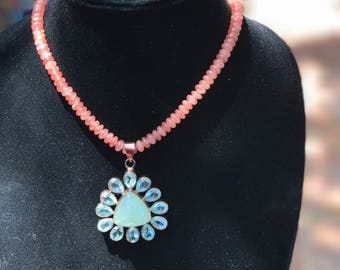 Striking Blue and Peach Necklace