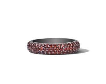 Eternity Ring Blood Red Garnet Triple Row