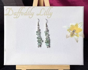 Clear Green Nugget Earrings
