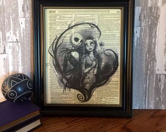 Nightmare Before Christmas Jack Skellington & Sally Print Art on 8x10 upcycled dictionary page #2