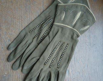 True vintage 50s gloves brown beige gloves elegant slim embroidered embroidered easily damaged *.