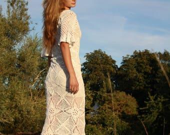handmade crochet maxi dress / wedding dress