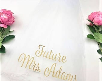 Personalized Veil, Bride to Be Veil,  Future Mrs Veil, Bachelorette Party Veil, Bachelorette Veil, Custom Veil, Style S