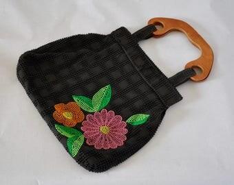 Vintage 1960s Beaded Bag Black with Floral Pattern / Handbag