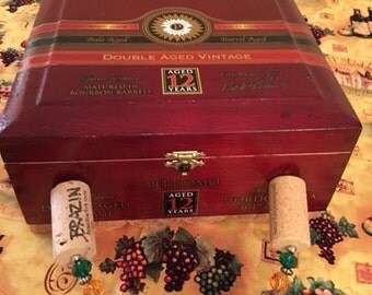 Handcrafted cigar box and cork purse