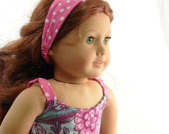 Doll Headband in Pink and White Polka Dot Handmade by Thimbledoodle to fit 18 Inch Dolls