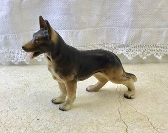 Vintage German Shepherd Ceramic Dog Figurine, Collectible Animal Model, Curio Dog