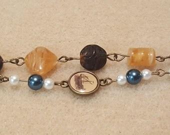 Nautical antique brass bracelet