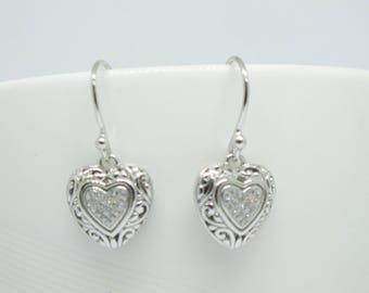 heart shape silver earrings, 925 sterling silver earrings,