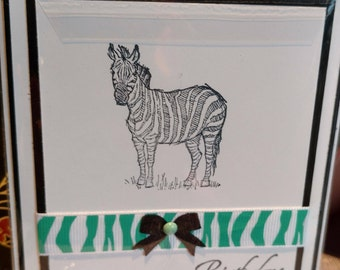 Handmade Zebra Birthday Card