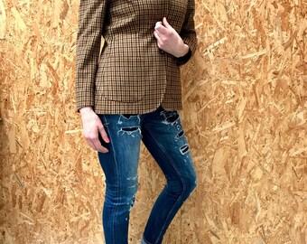 MAX MARA wool jacket / m / plaid / button down jacket / epaulets / brown tones / 1980s