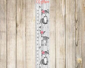 Girl Woodland Animals Growth Chart