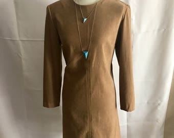 Vintage 1980s Camel Pencil Dress with Quarter Length Sleeves // Size 12 // Size L // plus sized