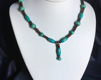 Wooden turquoise and brown necklace with matching earrings