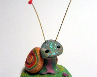 Spring time Easter Snail Trollfling Troll Mini MaryLou by Amber Matthies