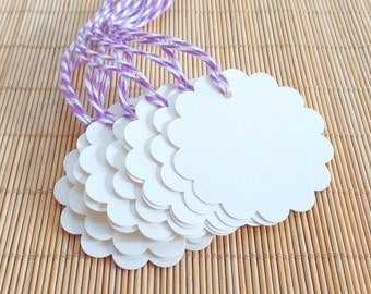 Gift Tags, Cream Tags, Favor Tags, Tags, Scalloped Tags, Scallop Tags, Tags with Twine, Hang Tags, Blank Tags, 2 Inch Gift Tags, Set of 10