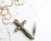 God Bestow Crucifix Cross Pocket Knife Necklace | Brass Religious Symbol