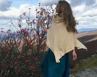 Hemp poncho, Cowl Neck Poncho, Light organic Hemp/cotton jersey knit, Made to order-organic hemp clothing