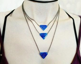 Chevron Layering Necklace Multi Strand Choker with Vintage Lapis Glass Pendants Layer Combo Adjustable
