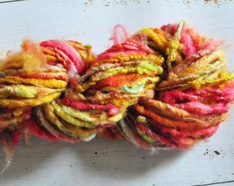 Handspun Yarn - Lovingly Spun - Bulky Thread Autowrapped Merino Single - Lock Spun - Fire Dancer - 44 Yards