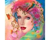 Large Signed Fairy Goddess Gaia Unique Hand Embellished OOAK Canvas Print B. K . Lusk