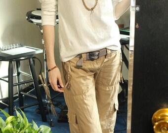 perfect white shirt - long sleeve crew neck - 100% hemp and organic cotton - custom made to order