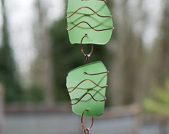 Sun Catcher Beach Glass with Copper Sea Glass Suncatcher stained glass