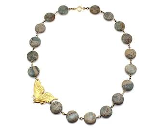 Blue Statement Necklace, Blue Necklace, Butterfly Necklace, Butterfly Jewelry, Blue Jewelry, Statement Jewelry, Animal Jewelry, Butterflies