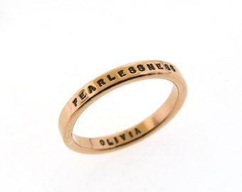 Copper Ring, Smooth Like Butter Style Posey Ring, custom made copper ring hand stamped by Kathryn Riechert, personalized jewelry