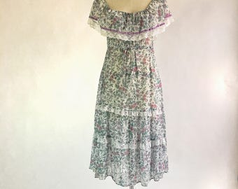 1970s Floral Off The Shoulder Capelet Sheer Peasant Dress