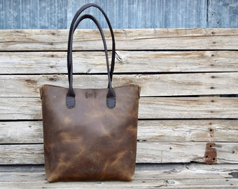 Simple Leather Tote Bag /Market Tote  /Long Handle Tote / Rustic Leather Bag / Hand Stitched Leather Tote / feralempire.etsy.com