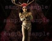 CARTE de voeux mixte modifié impression d'Art Antique petite ballerine fille avec panache fantôme gothique fille sorcière 5 x 7 convient pour l'encadrement