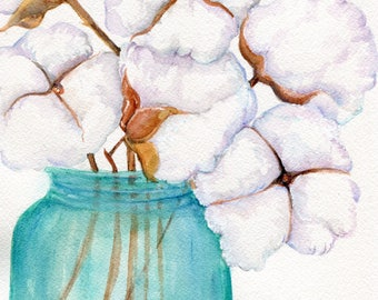 Cotton Boll blue Mason canning jar original art watercolor painting 8 x 10 cotton painting, cotton art,  Farmhouse Decor