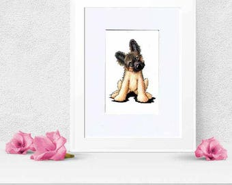 German Shepherd Dog Art Original Drawing Matted