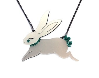 Jumping Bunny Necklace- Pearlescent acrylic laser cut illustration - rabbit jewellery jewelry